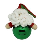 Green Seasons Greetings Knit Santa Claus Christmas Tree Ball Ornament