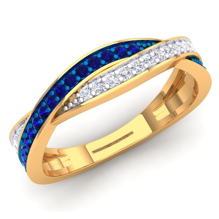 Dazzlingrock Collection 18K Blue Sapphire & White Diamond Ladies Anniversary Wedding Swirl Stackable Band, Yellow Gold, Size 4.5