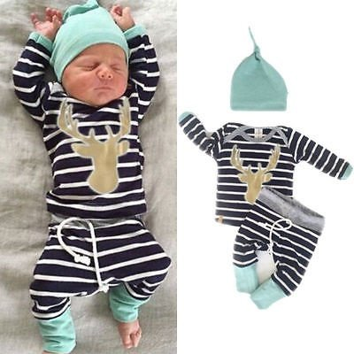 Newborn Baby Girl Boy Clothes Deer Tops T-shirt+Pants Leggings 3pcs Outfits Set - Newborn Girl Halloween Outfits