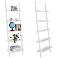 Costway Versatile White 5-Tier Bookshelf Leaning Wall Shelf Ladder  Bookcase Storage Display Furni