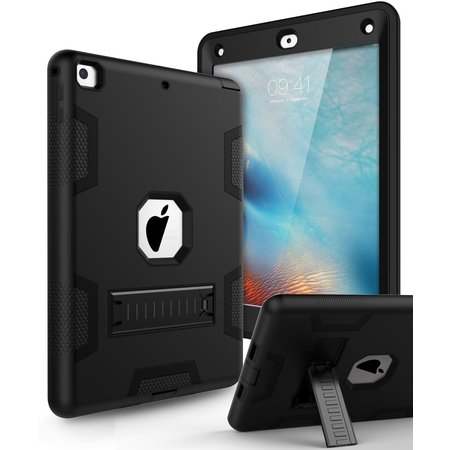 Apple IPad 4 / A1458 / A1459 / A1460 Kickstand Case Heavy Duty Drop Protection Dual Layer TPU Bumper + Hard PC Defense Stand Cover Case