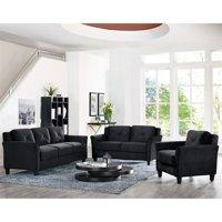 Lifestyle Solutions Hartford 3 Piece Microfiber Sofa Set in Black