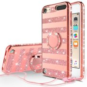 iPod Touch 6/Touch 5 Case,iPod 6/5 Case,Glitter Kickstand Phone Case Cover Girls Womens,Bling Diamond Rhinestone Bumper Ring Stand Protective Pink Apple iPod Touch 5/6th Generation - Rose Gold Stripe