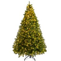 Gymax Pre-Lit 7' Artificial PVC Christmas Tree Hinged 700 LED Lights Metal Stand