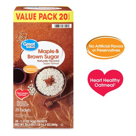 (2 Pack) Great Value Maple & Brown Sugar Instant Oatmeal, 1.51 oz, 20 (Jackson Oatmeal)