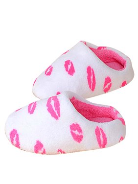 2c3f9f0cbdd Product Image Outgeek Trendy Fluffy Lips Pattern Comfy House Slippers  Winter Warm Casual Shoes Sandals for Women Girls