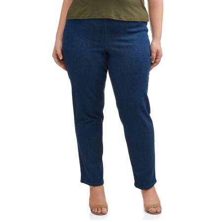 Women's Plus-Size 2-Pocket Pull-On Stretch Woven Pants, Available in Regular and Petite (Plush Velvet Pant)