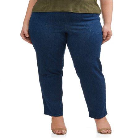 - Women's Plus-Size 2-Pocket Pull-On Stretch Woven Pants, Available in Regular and Petite Lengths