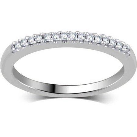1/10 Carat T.W. Round Diamond 10kt White Gold Wedding Band, I-J/I2-I3