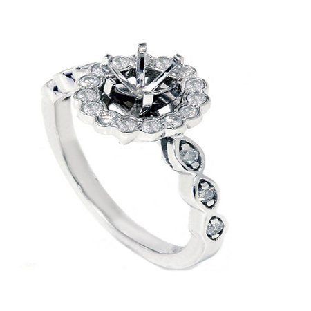 Diamond Halo Engagement Ring Setting 1/4ct Semi Mount Unique Vintage Accents -