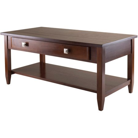 Walnut Oval Coffee Table - Winsome Wood Richmond Coffee Table with Drawer, Walnut Finish
