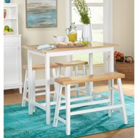 4-Piece Galena Counter Height Set, White/Natural