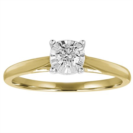 1/4 Carat T.W. Diamond 10kt Yellow Gold Miracle Plate Solitaire Engagement -