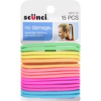 (2 Pack) Scunci No Damage Hair Ties, Neon, 15 count