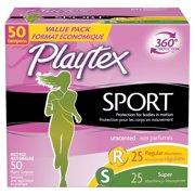 Playtex Sport Unscented Tampons Multi-Pack (Regular/Super), 50 Ct