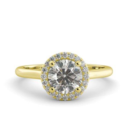 1.38 ct Round Brilliant Moissanite & Natural Diamond Engagement Ring