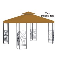 10x10' Replacement Canopy Top Patio Pavilion Gazebo Sunshade Polyester Cover-Double Tier