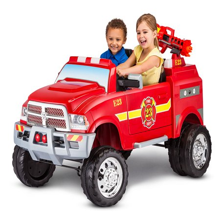 12-Volt RAM 3500 Fire Truck Ride-On Toy Car by Kid Trax, Red](Fire Truck For Kids To Ride)