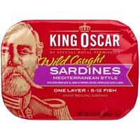 (3 Pack) King Oscar One Layer Mediterranean Style Sardines, 3.75 oz