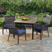 Better Homes & Gardens Ravenbrooke 5-Piece Patio Dining Set with Blue Cushions