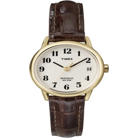 Timex Women's Easy Reader Brown Croco Leather Strap Watch ()