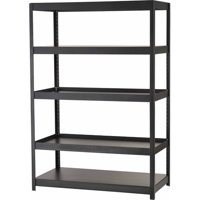 "Edsal Muscle Rack 72""H x 48"" W x 24"" D 5-Shelf Steel Shelving Unit, Black, MR482472BLB"