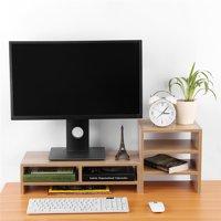 HURRISE Computer Laptop Monitor Riser Stand Desktop Wooden Storage Organizer 3 Layer Shelf (Light Walnut)
