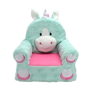 "Sweet Seats Adorable Teal Unicorn Children's Chair, Standard Size, Machine Washable Removable Cover, 13""L x 18""W x 19""H"