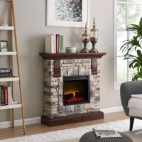 Bold Flame 40 inch Faux Stone Electric Fireplace Heater in Tan/Grey