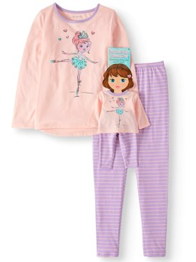 e36e7f86ff46 Product Image Komar Kids Girls  Ballerina 2pc Pajama Set With Matching Doll  Pajama (Little Girls