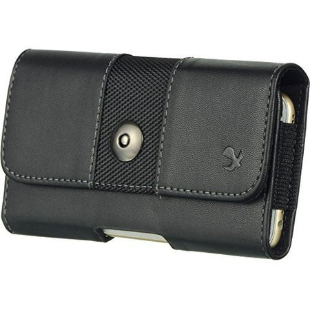 Fitted Horizontal Leather Pouch - Black3 Horizontal Belt Clip Holster Leather Pouch Case for Apple iPhone 7 Plus Apple iPhone 8 Plus Apple iPhone 6 Plus