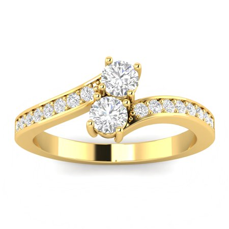 0.75ctw Diamond Two Stone Ring in 10k Yellow Gold (G-H, I2-I3, 0.75ctw) 10k Yellow Gold Rosary Ring