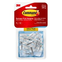 Command Clear Small Wire Hooks, 9 Hooks, 12 Strips (Holds 0.5 lb)