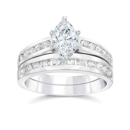 Marquise Good Cut Diamond (2 Carat Marquise  Diamond Engagement Wedding Ring Set White Gold 14k)