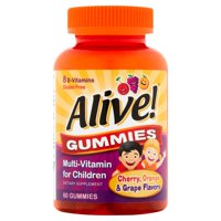 Alive! Cherry, Orange & Grape Flavors Gummies Multi-Vitamin for Children, 60 count