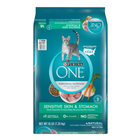 Purina One Sensitive Stomach & Skin Natural Dry Cat Food (Various Sizes)