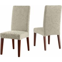 Sure Fit Stretch Jacquard Damask Short Dining Room Chair Slipcover