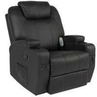 Best Choice Products Executive Faux Leather Swivel Electric Massage Recliner Chair w/ Remote Control, 5 Heat & Vibration Modes, 2 Cup Holders, 4 Pockets - Black