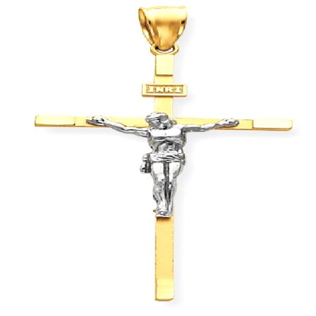 14kt Two Tone Yellow Gold Crucifix Cross Religious Pendant Charm Necklace Inri Latin Fine Jewelry Ideal Gifts For Women Gift Set From Heart (Two Tone 18k Gold Letter)