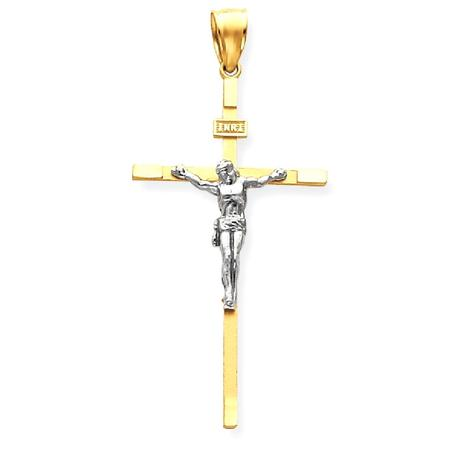 14kt Two Tone Yellow Gold Crucifix Cross Religious Pendant Charm Necklace Inri Latin Fine Jewelry Ideal Gifts For Women Gift Set From Heart ()