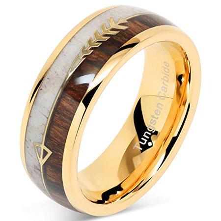 Tungsten Ring For Men Wedding Band Deer Antler Koa Wood Inlaid Engagement Size 8-16