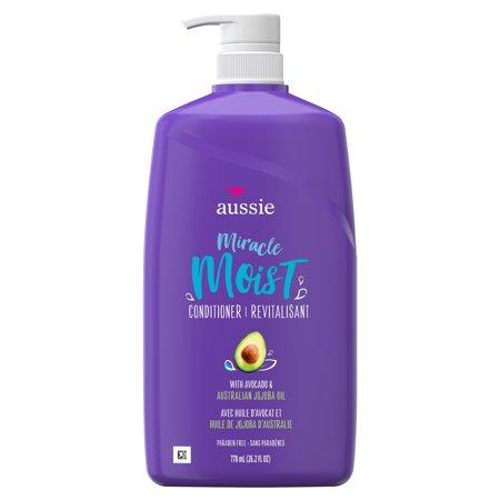 Aussie Paraben-Free Miracle Moist Conditioner w/ Avocado & Jojoba Oil For Dry Hair, 26.2 fl oz