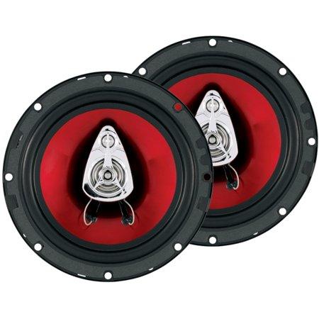 Boss 6.5 Inch 300 Watt 3-Way Car Coaxial Audio Red Stereo Speakers CH6530 (Surface Mount 3 Way Speakers)
