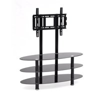 Hodedah Black 3-Shelf Glass TV Stand with Mount for TVs up to 42""