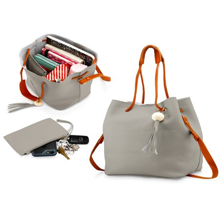 Fashion Tassel buckets Tote Handbag Women Messenger Hobos Shoulder Bags Crossbody Satchel Bag - Light Gray ()