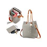 cc9a0eb780 Fashion Tassel buckets Tote Handbag Women Messenger Hobos Shoulder Bags  Crossbody Satchel Bag - Light Gray