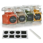 12 Pack - 3 Ounce Mini Clear Glass Spice Jar Container Set with Airtight Lids for Canning, Storage Jars for Tea, Spice, Kitchen Rack Glass Set w/ Reusable Labels, Clear Containers for DIY Materials