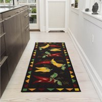 "Ottomanson Siesta Collection Kitchen Hot Peppers Design Non-Slip Runner Rug, Black, 20"" X 59"""