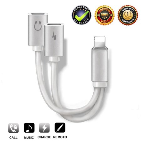 Dual Mount Adapter - 2-in-1 Lightning Splitter Adapter for iPhone XS/ XS Max/XR/X/8/8 Plus/7/7 Plus. Compatible IOS 10 or Later, Double lightning ports for dual Lightning Headphone Audio & Charge Adapter.