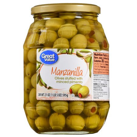 (2 Pack) Great Value Manzanilla Olives Stuffed with Minced Pimiento, 21 oz (Manzanilla Stuffed Olives)